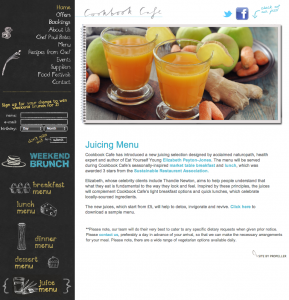 Cookbook cafe website