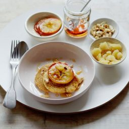 Oat Pancakes with Caramelised Apples & Cashews